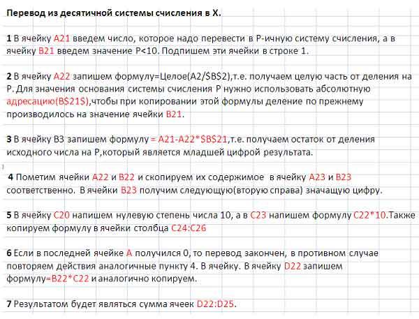 Перевод чисел с применением MS